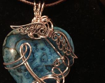 Blue Crazy Lace Pendant