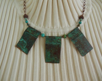 Verdigris Copper Necklace with Turquoise Beads