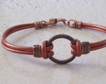 Copper Leather Bracelet