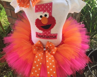 Elmo Birthday Party Tutu Outfit Dress Set Handmade Seasame Street 1st 2nd 3rd in Red Pink and Orange