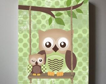 Owl Decor Boys wall art - OWL canvas art, Baby Nursery Owl with Swing woodland whimsical nursery art