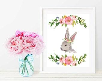 Bunny Printable Nursery Decor, Rabbit Watercolor Floral Wall Art Print, 8x10 Woodland Nursery Digital Art Print, Printable Girl Nursery