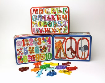 Vintage 3 Tin Boxes + 2 Magnet Sets - Alphabets, Animals, Numbers by J.N.S.Y 80s 90s Colorful - Made in Hong Kong