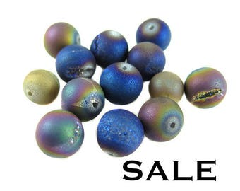 Blue and Grey Titanium Electroplated Druzy Quartz Beads - (NS528) (6x) SALE - 25% off