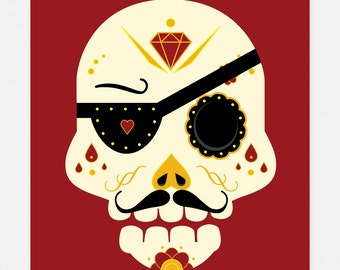 Day of the Dead Sugar Skull: Red Pirate 11x14 Art Print by Odds And Aliens