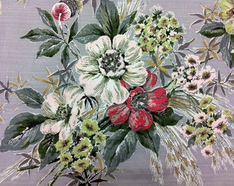 "50's Fabulous Prints by Tower ""Spring Bouquet"" with Pink/Lime/Red flowersand charcoal leaves on Silver Ground Barkcloth"