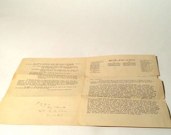 Vintage 1940s Yale University College/Sheffield School of Science 1927 1927 S Reunion Ephemera/Old Campus Map/Correspondence