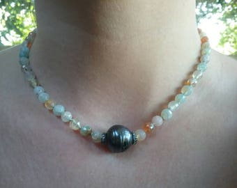 Genuine Diamond, Genuine Pearl, and Topaz Beaded Necklace.  Handmade, one of a kind