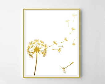 Dandelion,  Dandelion print, gold Dandelion, printable decor, white and gold Dandelion, gold print, gold art, printable Dandelion