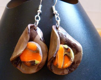 EARRINGS MADE OF PORCELAIN BROWN / ORANGE