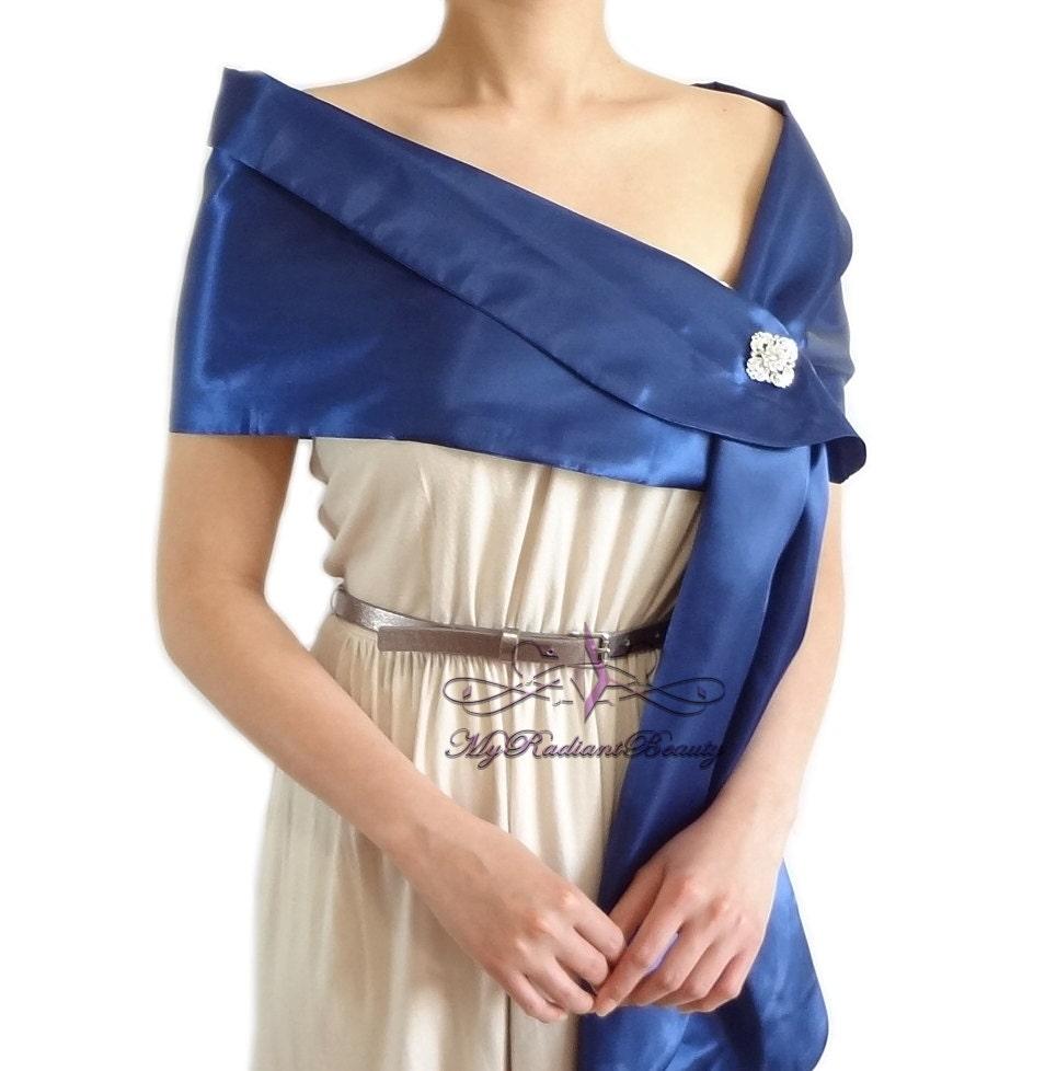 Bolero Braut Satin Wrap Royal Blue Satin Stola Schal Seide
