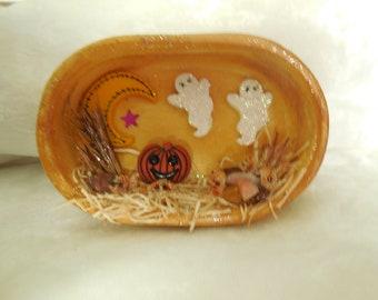 Halloween Magnet, Ghost Magnet, Ceramic Halloween Magnet, Handmade Halloween Magnet