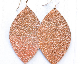 Rose Gold Large Leaf Leather Earrings