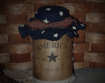 Perfectly Aged~Grunge Americana Jar~Star~Navy~Homespun~Red~Stained Woven~Free Shipping~