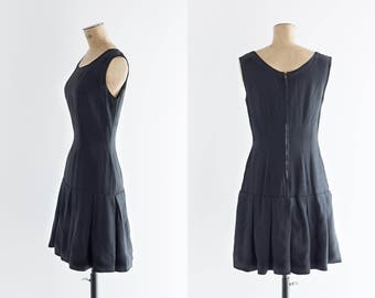 1960s Dress - Vintage 60s Little Black Dress - Guetaria Dress