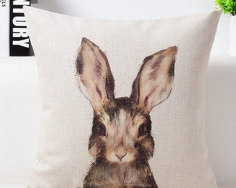 "Cotton Linen Decorative Pillow case 18"" Cute Young Rabbit"