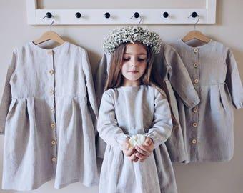 Linen dress girls, linen dress with wooden buttons, cute linen dress girl, linen wear, girl dress, baby dress, linen baby, flower girl dress