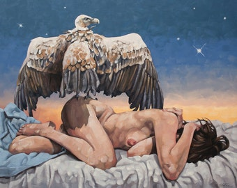 """Original Contemporary Oil Painting, Reclined Nude Figure with Vulture and Sunset, Fine Art Natural Surreal Painting - """"Dreamcatcher"""""""
