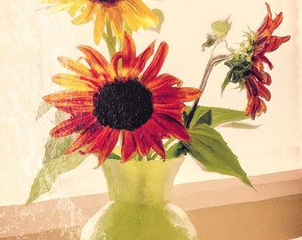 Cheerful Sunflowers in a Vase - Photo Painting for Canvas Print, Greeting Card, Scrapbook Paper