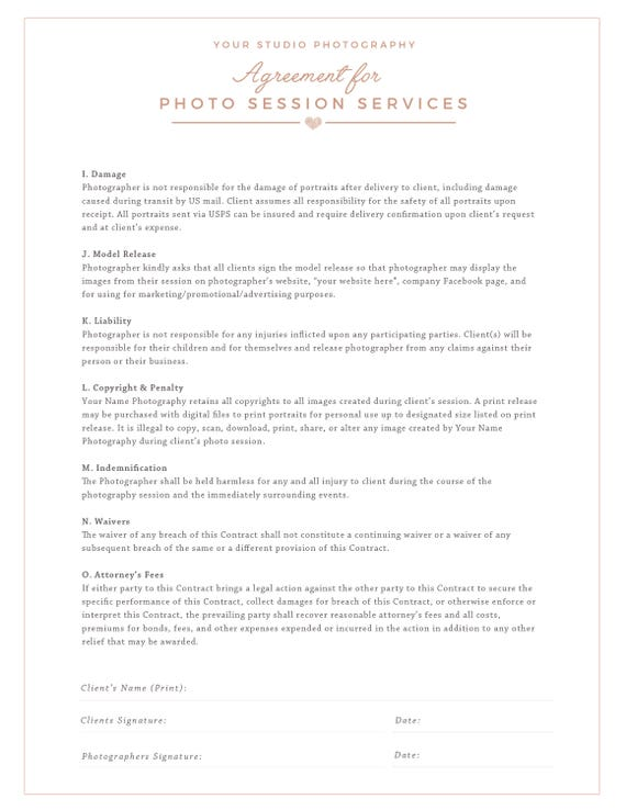 Session Contract Template For Photographer Photography