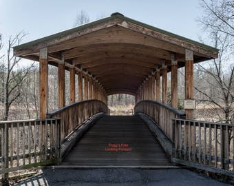 Covered Bridge matted photo- Looking Forward