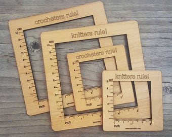 Gauge Swatch Measurement Ruler Square Tool for Knitting or Crochet
