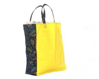 Shopping Bag, Tote Bag,  Canvas, reusable, yellow and black paisley