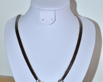 yellow and chocolate brown leather and beads