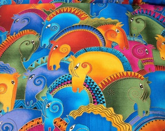 Laurel Burch Horse Heads Fabric Bright Colors very popular  Fat Quarter New BTFQ
