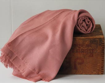 Vintage Pure 100% all wool Shawl Wrap Scarf Samoor Dusty rose pink