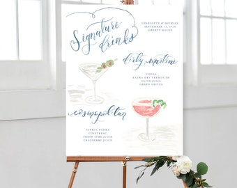 Hand Painted Watercolor Signature Drink Signs - Customizable