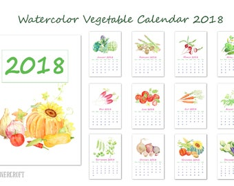 "2018 Calendar printable - watercolor vegetables monthly calendar - 8"" x 11.5"" digital instant download scrapbook kitchen calendar"