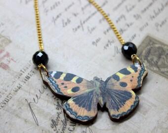 Black & Orange Butterfly Necklace, Wood Pendant, Illustration Jewelry