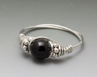 Black Onyx Bali Sterling Silver Wire Wrapped Bead Ring - Made to Order, Ships Fast!