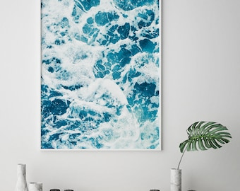 Ocean Waves Print, Ocean wall art, Ocean Photography, Ocean art, Wave Printable, Ocean Waves Art, Water Waves, Blue Art, Blue Print, Ocean