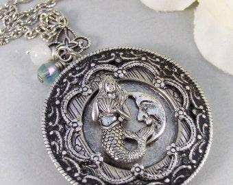 Mermaid's Moon,Locket,Mermaid,Moon, Mermaid Locket,Antique Locket,Silver Locket,Goddess,Ocean Locket,Handmade jewelry by valleygirldesigns
