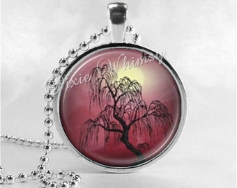 WEEPING WILLOW TREE Pendant Necklace Woodland Jewelry, Photo Art Glass Necklace, Nature Jewelry