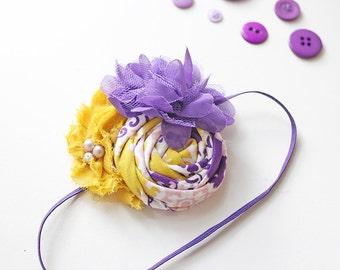 Best Yet - purple and mustard rosette and chiffon flower headband