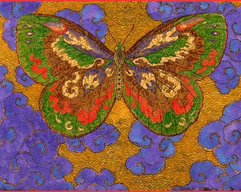 Fine Art Greeting Card, Papillon D'Esprit, Purple, Spirit Butterfly, Hand Made, Archival Reproduction of an original watercolor etching.