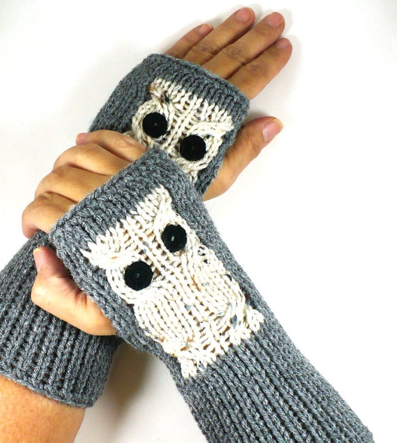 Knit Hand Warmers Owl Gloves Knit Accessories Fingerless