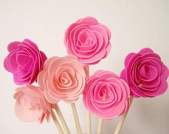 Set of 24Pcs - Pink MIX 3D 'ROSE ' Party Picks, Cupcake Toppers, Toothpicks, Food Picks