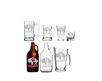 Buffalo Champs Wanted  Etched Barware - Mug - Glass - Beer - Growler