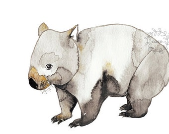 Wombat Australian Fauna watercolour illustration