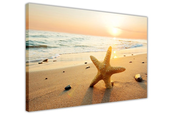 Sunset Over Beach and Starfish Framed Canvas Pictures Wall Art