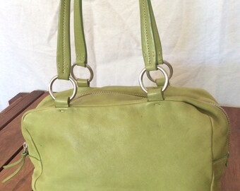 05f93299ff26 MIU MIU Vintage Fashionable Authentic Lime Green Leather Satchel Bag Made  in Italy