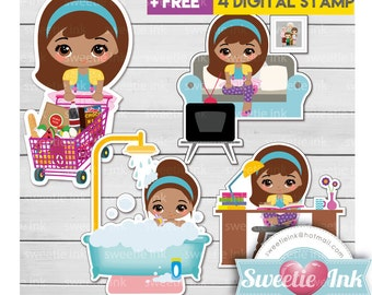 Active Girl 2-A Kawaii Clipart Book TV shower shopping