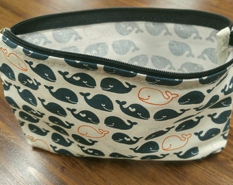 Dolphin Printed 100% Cotton Makeup Pouch Bag