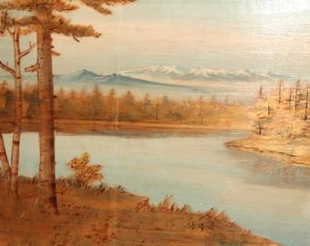 Vintage oil painting pyrography  landscape