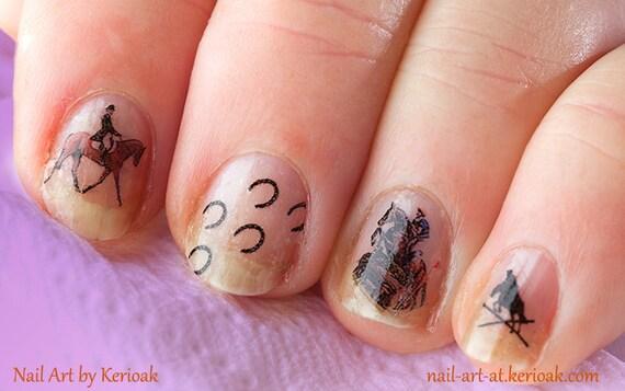 $3.90 - Polo Pony Nail Art, Equine Nail Art Stickers, Fingernail Stickers