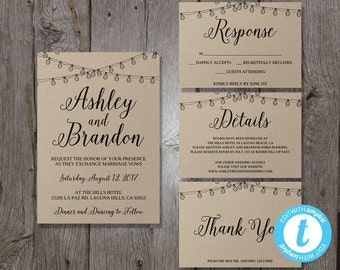 Wedding Invitation Template Set, Printable Wedding Invitation Suite, Printable Invitation Set, DIY Wedding Invites, Easy to Edit Calligraphy